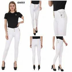 Plain Skinny Fit White Side Dori Denim Jeans For Women
