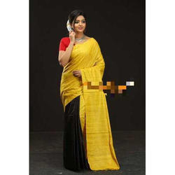 Half and Half Fancy Silk Saree with Blouse Piece, Saree Length: 6.3 m
