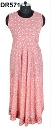 Cotton Hand Block Printed Long Women's Maxi Dress DR571
