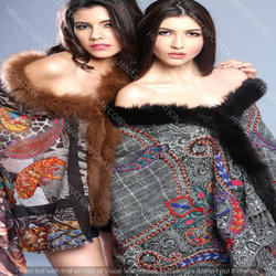 Pure Wool Shawls With Digital Print & Fur Trims