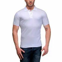 Cotton Half Sleeve Gazelles Plane White Colour T-shirt