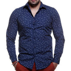 Men Cotton Navy Blue Designer Printed Shirt, Size: S-XL