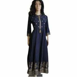 Navy Blue Cotton Ladies Designer Rayon Kurti With Embroidery and Gold Print