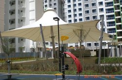 White Tensile Umbrella Canopy Structure