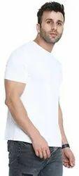 Cotton Caper Solid Men Round Neck White T-Shirt