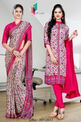 Pink and Grey Italian Crepe Uniform Saree Kurti Combo