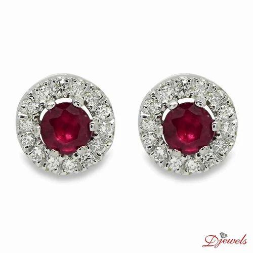 Diamond Earrings Meg With Real Ruby