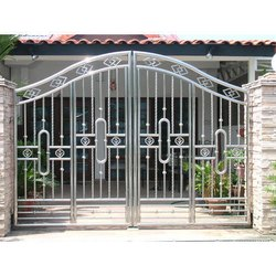 Swing Silver Stainless Steel Gates, for Residential