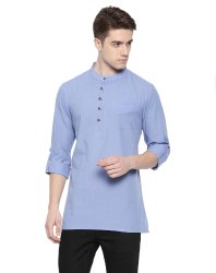Casual Plain Mens Short Kurta (Loop Style), Mandarin Collar