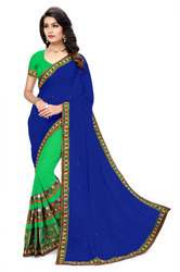 Embroidered Fashion Georgette Green& Blue Saree