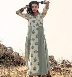 Green Shrub Angrakha Cotton Tunic