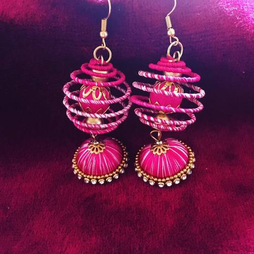 82f16451d Designer Pink Silk Thread Handmade Earrings at Rs 175 /pair | Silk ...
