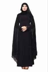 Women's Lycra and Chiffon Abaya Burka with Pearl Work and Hijab Scarf