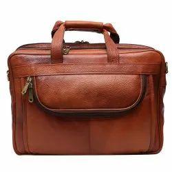 Rexx Brown Zipper Leather Laptop Bag