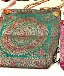 Green Shoulder Bag Banarasi Silk Handbags, Size: 16*16