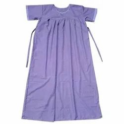 Plain Purple Cotton Maternity Gown, Sleeves: Half