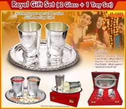 Greet 'n' Gift Royal Gift Set with 2 Glass and 1 Tray