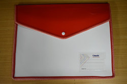 Classik Plastic Button File Folder Matt Matt Opaque White with Fluorescent Document Bag 0.45_612