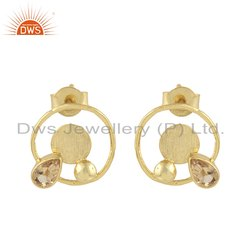 Round Design Gold Plated 925 Silver Citrine Gemstone Stud Earring
