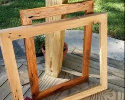 Brown Rectangular Hardwood Window Frame