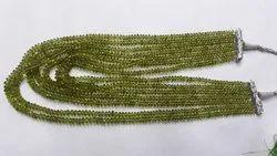 Natural Peridot Macro Cut Roundel Bead Necklace Strands
