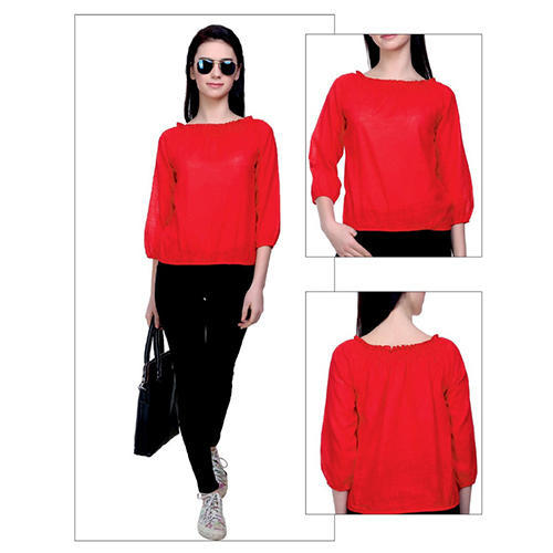 Cotton Round Neck Red Plain Top