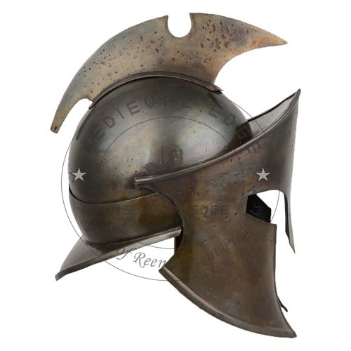 Norman Full Face Spangenhelm Crudader Iron Steel Viking Helmet w// Leather Liner