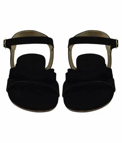 4372635e6 Formal Black Ladies Flat Sandal, Size: Regular, Rs 350 /pair   ID ...