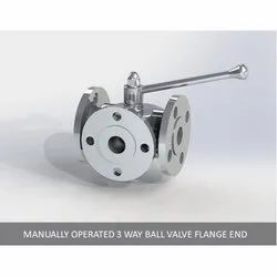 Manually Operated 3 Way Ball Valve Flange End