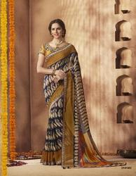Georgette Fancy Sarees with Blouse Piece