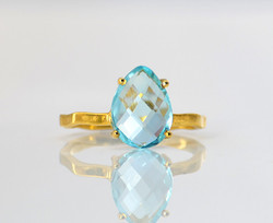Fantastic Blue Topaz Special Micron Gold Plated Gemstone Ring Present By Indianna Jewellers
