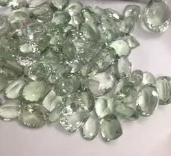 Green Amethyst Cut Stone Mix Shapes, Big Free Size Faceted Calibrated Loose Gemstone