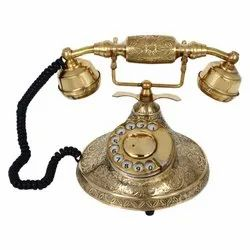 Rotary Dial Table Brass Square Hand Carved Old Landline Telephone, Model Name/Number: MHE-1166