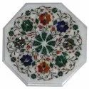White Marble Design Inlay Table Top