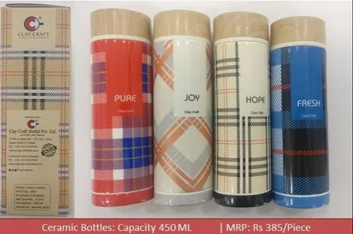 Clay Craft Multicolor Ceramic Bottles, For Water Storage, Capacity: 450 Ml