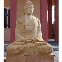 Teakwood Yellow Teak Wood Stone Buddha Statue
