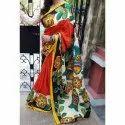 Silk Party Wear Ladies Hand Printed Saree