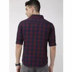 Cotton Full Sleeves Causal Mens Check Shirt