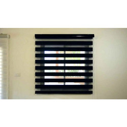 Wood Black Vertical Zebra Blinds