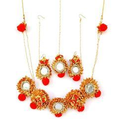 Red Gota Patti Mirror Work Necklace With Earrings & Maang Tika