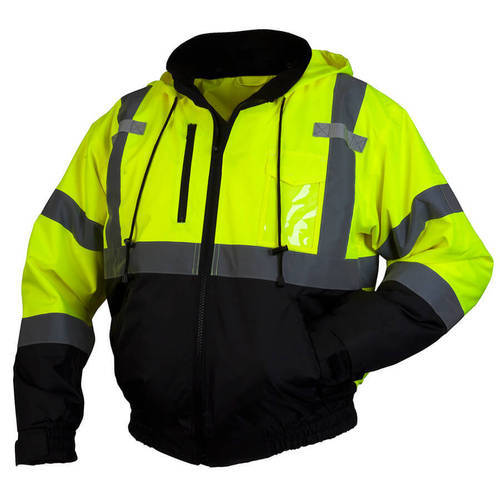 Polyester Light Green And Black Safety Jacket