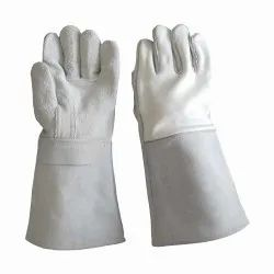 White 18 Inch Leather Welding Gloves, Finger Type: Full Fingered