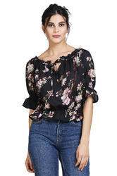 American Crepe 3/4th Sleeve Black Printed Casual Western Top