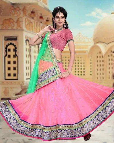 e7203db65a Pink Color Designer Net Material Lehenga Choli - Naman Creation ...
