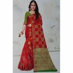Zari Border Fancy Cotton Party Wear Saree, 6 m (with blouse piece)