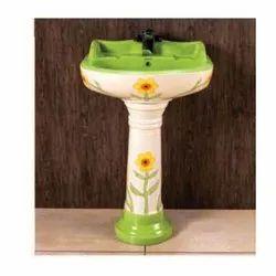 Flower Print Pedestal Wash Basin