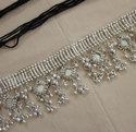 Bridal Sash Belt Silver Metal Tassel Mirror Waist Jewelry