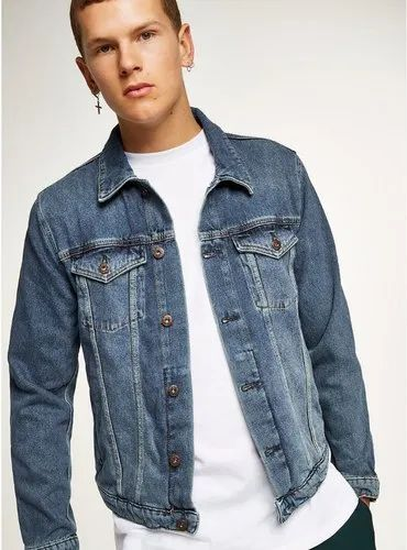 Mens Full Sleeve Blue Denim Jacket, Size: S, M and L