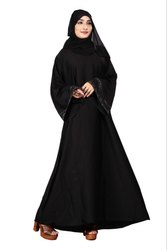 Women's Nida Plain Islamic Dress Abaya Burqa With Dupatta