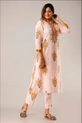 3/4Th Sleeve Cotton Kurti With Pant